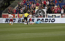 May 27, 2017 - Harrison, New Jersey, United States - Referee Ismail Elfath shows for penalty kick during MLS game between New York Red Bulls & New England Revolution on Red Bull Arena, Red Bulls won 2 - 1. (Credit Image: © Lev Radin/Pacific Press via ZUMA Wire)