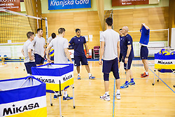 Coach Andrea Giani with athletes during training camp of Slovenian Volleyball Men Team 1 month before FIVB Volleyball World League tournament in Ljubljana, on May 5, 2016 in Arena Vitranc, Kranjska Gora, Slovenia. Photo by Vid Ponikvar / Sportida