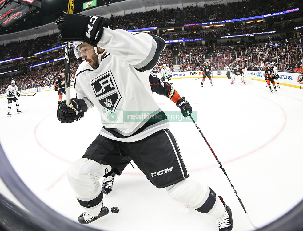 November 7, 2017 - Los Angeles, California, U.S - Los Angeles Kings defenseman Derek Forbort (24) fights for the puck during a 2017-2018 NHL hockey game against Anaheim Ducks in Anaheim, California on Nov. 7, 2017. Los Angeles Kings won 4-3 in overtime. (Credit Image: © Ringo Chiu via ZUMA Wire)