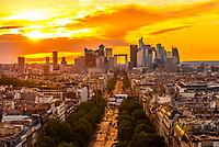 Avenue de la Grande Armee leading to La Défense, which is a major business district located three kilometres west of the city limits of Paris. Paris, France