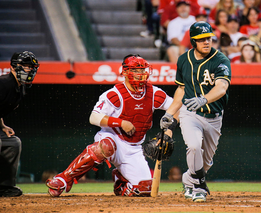 Aug 30 2014 - Anaheim U.S. CA - A's DH Brandon Moss  during MLB game between LA Angels and  Oakland Athletics 0-2 lost at Angel Stadium of Anaheim Calif.