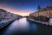 Beautiful sunset on la seine, Paris, France