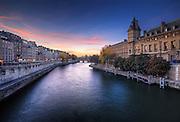 Beautiful sunset on la seine, Paris, France