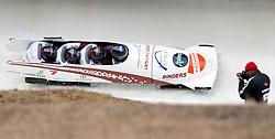 04.12.2011, Eiskanal, Igls, AUT, Viessmann FIBT Bob und Skeleton Weltcup, vierer Bob Herren, 1. Durchgang, im Bild Bob LAT 2 mit Oskars Melbardis, Helvijs Lusis, Arvis Vilkaste, Janis Strenga // Bob Latvia 2 with Oskars Melbardis, Helvijs Lusis, Arvis Vilkaste, Janis Strenga during first run four Man Bob at FIBT Viessmann Bobsleigh and Skeleton world cup at Olympic ice canal, Innsbruck Igls, Austria on 2011/12/04. EXPA Pictures © 2011, PhotoCredit: EXPA/ Johann Groder