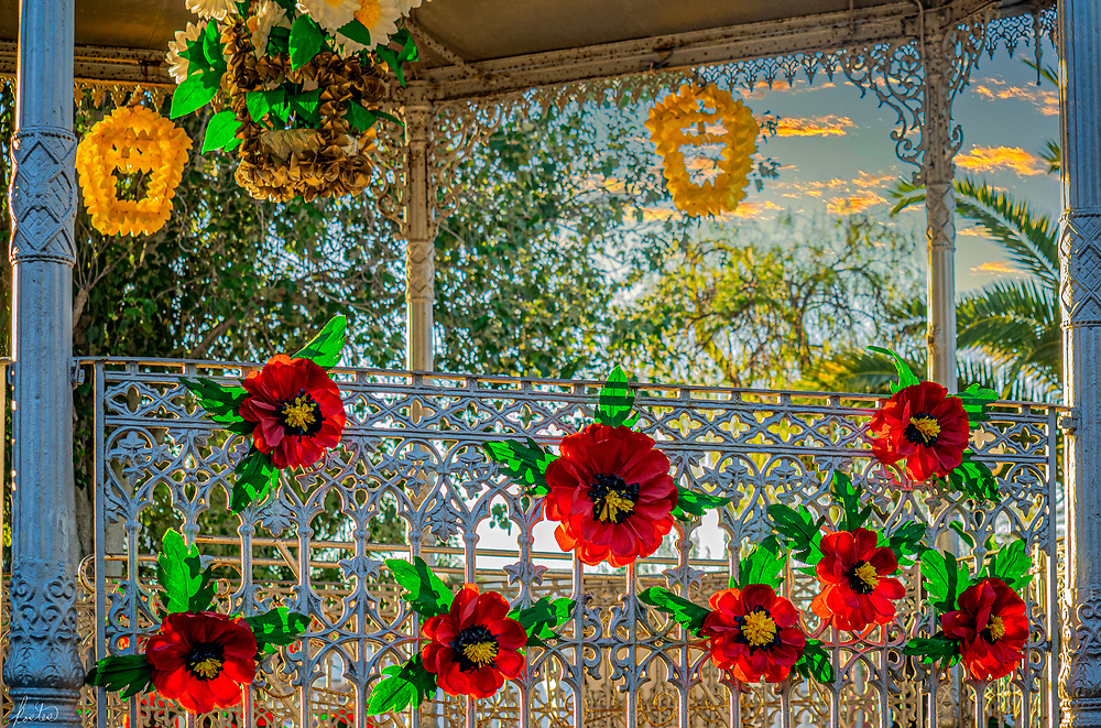 Paper Flowers Decorate the Bandstand In Tavira, Portugal