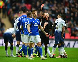 Joe Ralls of Cardiff City is sent off by Referee Mike dean - Mandatory by-line: Alex James/JMP - 06/10/2018 - FOOTBALL - Wembley Stadium - London, England - Tottenham Hotspur v Cardiff City - Premier League