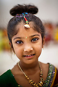 10 AUGUST 2012 - PHOENIX, AZ:  A girl dressed as Radha during the celebration of Janmashtami at Ekta Mandir, a Hindu temple in central Phoenix. In the Hindu religion, Rhada is the friend of lover of Krishna. Janmashtami is the Hindu holy day that celebrates the birth of Lord Krishna. Hindu communities around the world celebrate the holy day. In Arizona, most of the Hindu temples in the Phoenix area have special celebrations of the day.  PHOTO BY JACK KURTZ