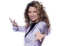 caucasian woman aerobics gesture portrait isolated studio on white background