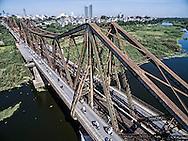Aerial view of Long Bien bridge in Hanoi, Vietnam, Southeast Asia