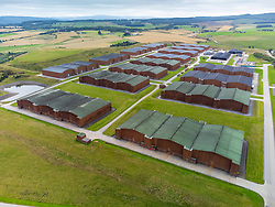 Aerial view from drone of warehouses housing Macallan single malt scotch whisky at Craigellachie, Moray, Scotland, UK