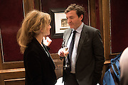LARA CAZALET; NICKY DUNNE,, David Campbell Publisher of Everyman's Library and Champagen Bollinger celebrate the completion of the Everyman Wodehouse in 99 volumes and the 2015 Bollinger Everyman Wodehouse prize shortlist. The Archive Room, The Goring Hotel. London. 20 April 2015.
