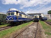 """Strasshof, Austria.<br /> Triebwagentage (railcar days) at Das Heizhaus - Eisenbahnmuseum Strasshof, Lower Austria's newly designated competence center for railway museum activities.<br /> From l.: ÖBB 4145 """"Blauer Blitz (Blue Lightning)"""", 1952-1962, running until 1997; BBÖ VT 42/ÖBB 5042 diesel electric railcar, built 1935-36, running until 1989; ÖBB 5081 """"Schienenbus (Rail Bus)"""", 1964-1967, running until 1994."""
