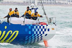 © Sander van der Borch.Alicante, 11 October 2008. Start of the Volvo Ocean Race.Telefonica blue, with Bouwe Bekking at the helm rounded the bottom mark in third position.