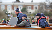 Putney, London,  Oxford Launch, left. Oxford Coaches, Sitting, Chief Coach, Sean BOWDEN and Director of Rowing Steve ROYLE, following the race 156th University Boat Race, on the Championship CoursePutney to Hammersmith  Saturday  03/04/2010 [Mandatory Credit Peter Spurrier/ Intersport Images]