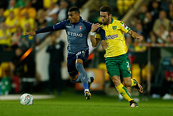 Charlton Athletic's Karlan Ahearne-Grant and Norwich City's Ivo Pinto battle for the ball