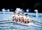 Henley. England, 1989 Henley Royal Regatta, River Thames, Henley Reach,  [© Peter Spurrier/Intersport Images],  The Stewards Challenge Cup, [L to R] Rupert OBHOLZER, Jim WALKER, Jonny SEARLE,  Jonny HULLS, University of London Boat Club<br /> Oxford University Boat Club