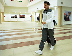 KAZAN, RUSSIA - Thursday, November 5, 2015: Liverpool's Pedro Chirivella arrives before the UEFA Europa League Group Stage Group B match against FC Rubin Kazan at the Kazan Arena. (Pic by Oleg Nikishin/Propaganda)
