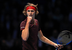 Alexander Zverev celebrates a point during day five of the NITTO ATP World Tour Finals at the O2 Arena, London.