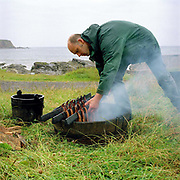 Iain Spink removing the Arbroath smokies from the fire pit on Auchmithie beach near Arbroath, Scotland. Arbroath smokies originated in Auchmithie, a small fishing village a few miles north of Arbroath. Only haddock can be used to produce an authentic 'Arbroath Smokie'. After cleaning, salting and washing, the fish are then tied by the tail in 'pairs' and hung on sticks. The smokie pit is then prepared. A hole is dug in the ground and a half whisky barrel is set into it, after lining with slates a hardwood fire of beech and oak is lit inside. The sticks of fish are then placed over the pit and a hessian cover allows the fire to breath and maintain the required heat.