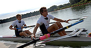 Reading, Great Britain, GBRLM2-, left matt BEECHEY and Daniel HARTE,  at the GB Rowing,  2007 World Rowing Championship Team Announcement at the Rowing Training centre, Caversham, ENGLAND 19/07/2007  [Mandatory Credit Peter Spurrier/ Intersport Images] , Rowing course: GB Rowing Training Complex, Redgrave Pinsent Lake, Caversham, Reading