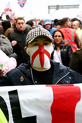 © under license to London News Pictures. 5/02/20011. Thousands of EDL (English Defence League) members and supporters march through the town centre of Luton today (05/02/2011) to protest agains sharia Law. Photo Credit Should Read: Craig Shepheard / London News Pictures