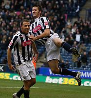 Photo: Steve Bond/Sportsbeat Images.<br />West Bromwich Albion v Charlton Athletic. Coca Cola Championship. 15/12/2007. Roman Bednar (L) is congratulated by Bostjan Cesar (R)