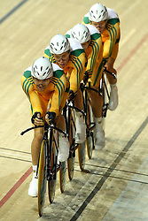 Jack Bobridge, Michael Frieberg, Michael Hepburn and Dale Parker of Australia  during the men's team persuit final held at the velodrome at the Indira Gandhi Sports Complex in New Delhi, India on the 7 October 2010..Photo by:  Ron Gaunt/SPORTZPICS/PHOTOSPORT