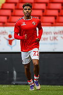 Charlton Athletic defender Ian Maatsen (22) warming up prior to the EFL Sky Bet League 1 match between Charlton Athletic and AFC Wimbledon at The Valley, London, England on 12 December 2020.