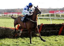 Bright Forecast ridden by Nico de Boinville Jumps the last to go on win The Ladbrokes 'National Hunt' Maiden Hurdle during the Ladbrokes Winter Carnival Friday at Newbury Racecourse.