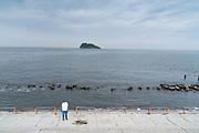 cleaning up at Umikaze park, Yokosuka with Tokyo Bay and Sarushima Island