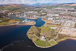 Aerial view from drone of Dumbarton Castle (closed during Covid-19 lockdown) on Dumbarton Rock beside River Clyde, Scotland, UK