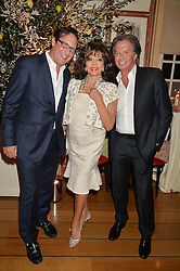 Left to right, PERCY GIBSON, JOAN COLLINS and RICHARD CARING at a party to celebrate 35 years of Harry's Bar, 26 South Audley Street, London on 19th September 2014.