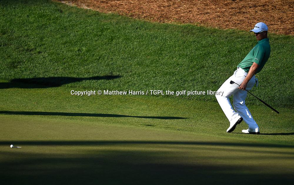 John SENDON (AUS) misses birdie putt at 16th par 3 during third round US Masters 2014,Augusta National,Augusta, Georgia,USA.