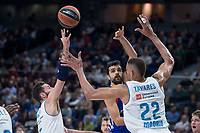 Real Madrid Rudy Fernandez and Walter Tavares and Anadolu Efes Krunoslav Simon during Turkish Airlines Euroleague match between Real Madrid and Anadolu Efes at Wizink Center in Madrid, Spain. January 25, 2018. (ALTERPHOTOS/Borja B.Hojas)