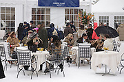 Badrutt's Palace  hospitality bar at White Turf 2011 horse  racing event in St Moritz, Switzerland.