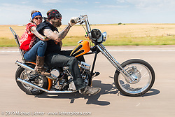 Pinky and Long Jon Barwood of Payson, AZ ride back to Sturgis after the annual Michael Lichter - Sugar Bear Ride hosted by Jay Allen with the Easyriders Saloon during the Sturgis Black Hills Motorcycle Rally. SD, USA. Sunday, August 3, 2014. Photography ©2014 Michael Lichter.