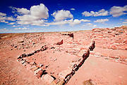 25 FEBRUARY 2010 -- WINSLOW, AZ: Rooms and a wall at Homolovi Ruins State Park north of Winslow. The park closed on Feb 22. The park's employees will spend the next few days packing up the park's exhibits but worry that the park's vulnerable archeological sites will be plundered by vandals and relic hunters when the park is vacant.    PHOTO BY JACK KURTZ