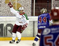Ishockey<br /> GET-Ligaen<br /> 11.10.07<br /> Jordal Amfi<br /> Vålerenga VIF - Frisk Asker Tigers<br /> Cameron Abbott jubler for sin 3-3 scoring<br /> Foto - Kasper Wikestad