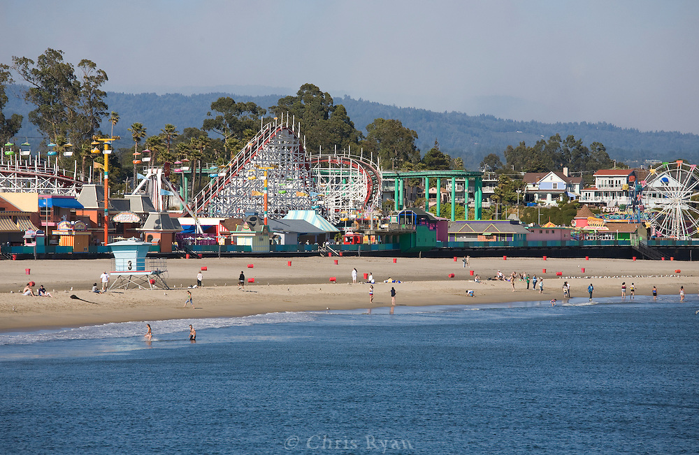 Beachgoers by the Santa Cruz Beach Boardwalk, Santa Cruz, California