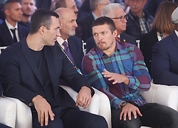 October 1, 2018 - Kiev, Ukraine - Ukrainian heavyweight boxing champion Vladimir Klitschko and Ukrainian boxer Oleksandr Usyk attend an official opening of the 56th WBC ( World Boxing Council ) Convention in Kiev, Ukraine, 01 October, 2018. The 56th WBC Convention takes place in Kiev from September 30 to October 05. The event participate of boxing legends Lennox Lewis, Evander Holyfield, Eric Morales, Alexander Usik, Vitali Klitschko and about 700 congress participants from 160 countries. (Credit Image: © Str/NurPhoto/ZUMA Press)