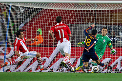 Pedro of Spain vs Goelkeeper of Paraguay Justo Villar during the  2010 FIFA World Cup South Africa Quarter Finals football match between Paraguay and Spain on July 03, 2010 at Ellis Park Stadium in Johannesburg. Spain defeated Paraguay 1-0. (Photo by Vid Ponikvar / Sportida)