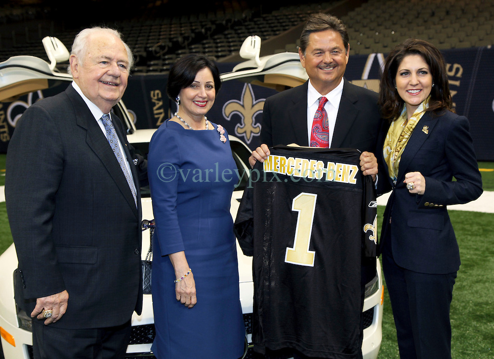 04 October 2011. New Orleans, Louisiana, USA.  <br /> NFL's New Orleans Saints announce a multi million dollar deal with Mercedes-Benz for naming rights on the Louisiana Superdome. Now the Mercedes-Benz Superdome. L/R Tom Benson (owner Saints), wife Gayle Benson, Mercedes-Benz USA President and CEO Ernst Leib and  Rita Benson Leblanc (VP Saints), .<br /> Photo; Charlie Varley