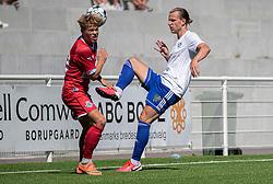 Prøvespilleren Tobias Pedersen (FC Helsingør) og Sebastian Carlsen (HIK) under træningskampen mellem FC Helsingør og HIK den 1. august 2020 på Helsingør Ny Stadion (Foto: Claus Birch).