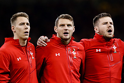 Dan Biggar of Wales, Liam Williams and Rob Evans during the anthems<br /> <br /> Photographer Simon King/Replay Images<br /> <br /> Under Armour Series - Wales v Australia - Saturday 10th November 2018 - Principality Stadium - Cardiff<br /> <br /> World Copyright © Replay Images . All rights reserved. info@replayimages.co.uk - http://replayimages.co.uk