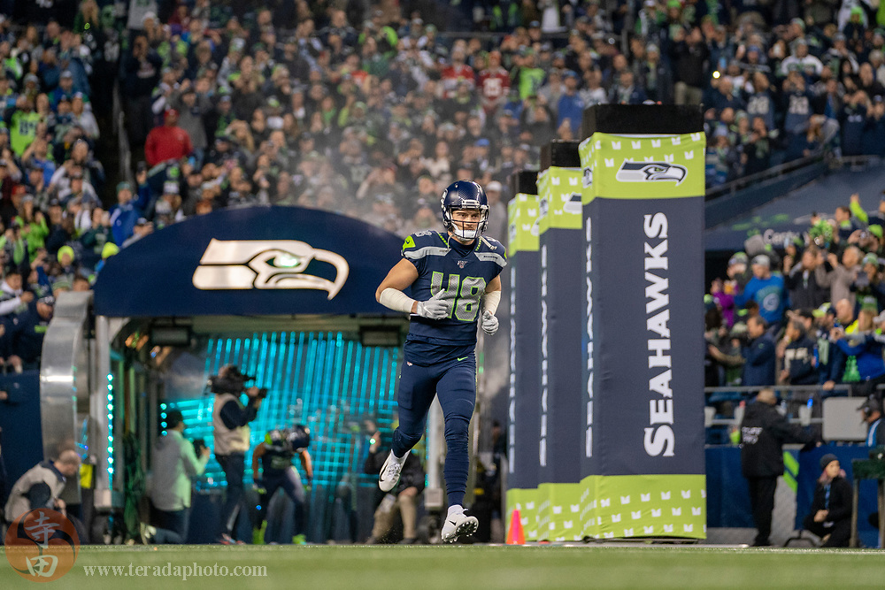 December 29, 2019; Seattle, Washington, USA; Seattle Seahawks tight end Jacob Hollister (48) before the game against the San Francisco 49ers at CenturyLink Field.