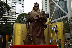 June 22, 2017 - Hong Kong, CHINA - Bronze statue of Guan Gong, a folk hero ( Warrior God ) that stands 6 meters high ( 20ft ) is publicly displayed in Central, Hong Kong to mark the celebration of 20th anniversary of Hong Kongs HANDOVER to China. June 22,2017.Hong Kong.ZUMA/Liau Chung Ren (Credit Image: © Liau Chung Ren via ZUMA Wire)