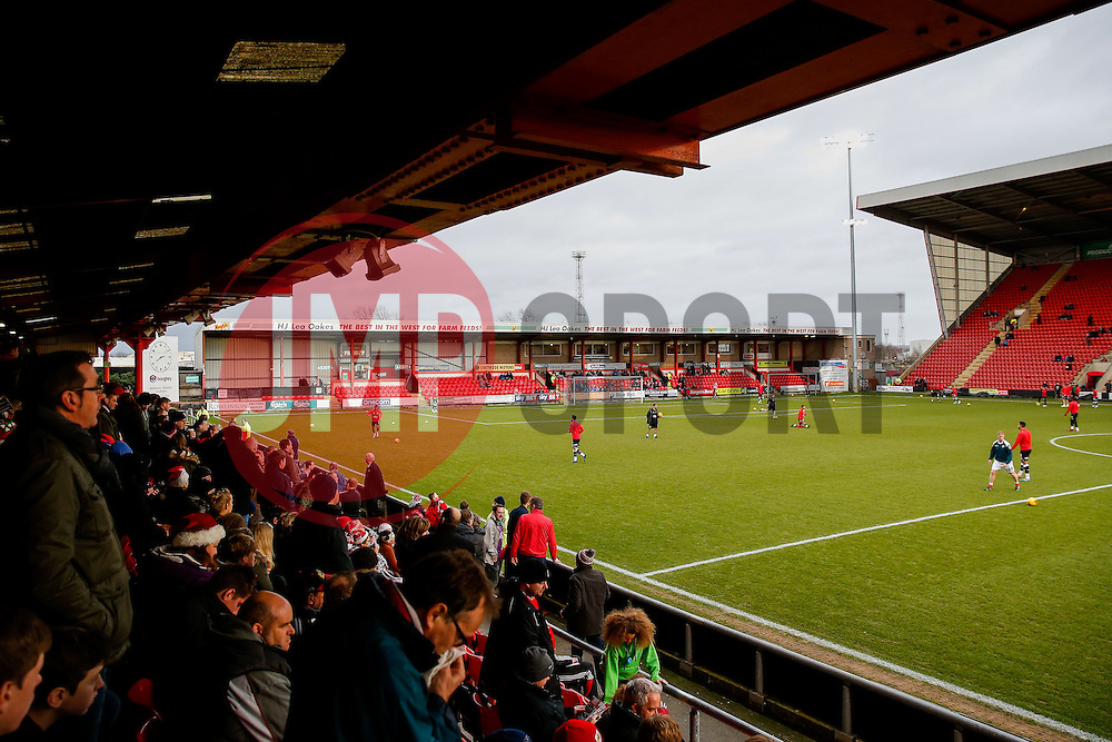 Bristol City fans in the away stand watch their side warm up - Photo mandatory by-line: Rogan Thomson/JMP - 07966 386802 - 20/12/2014 - SPORT - FOOTBALL - Crewe, England - Alexandra Stadium - Crewe Alexandra v Bristol City - Sky Bet League 1.