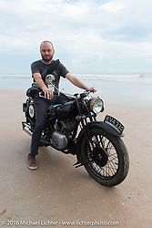 Alan Stulberg on Bryan Bossier's 1933 Brough Superior 11-50 on the sand before the start of stage 1 of the Motorcycle Cannonball Cross-Country Endurance Run, which on this day ran from Daytona Beach to Lake City, FL., USA. Friday, September 5, 2014.  Photography ©2014 Michael Lichter.