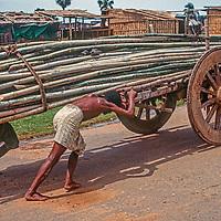 Men push a cart loaded with bamboo up a road in Dhaka, Bangladesh.