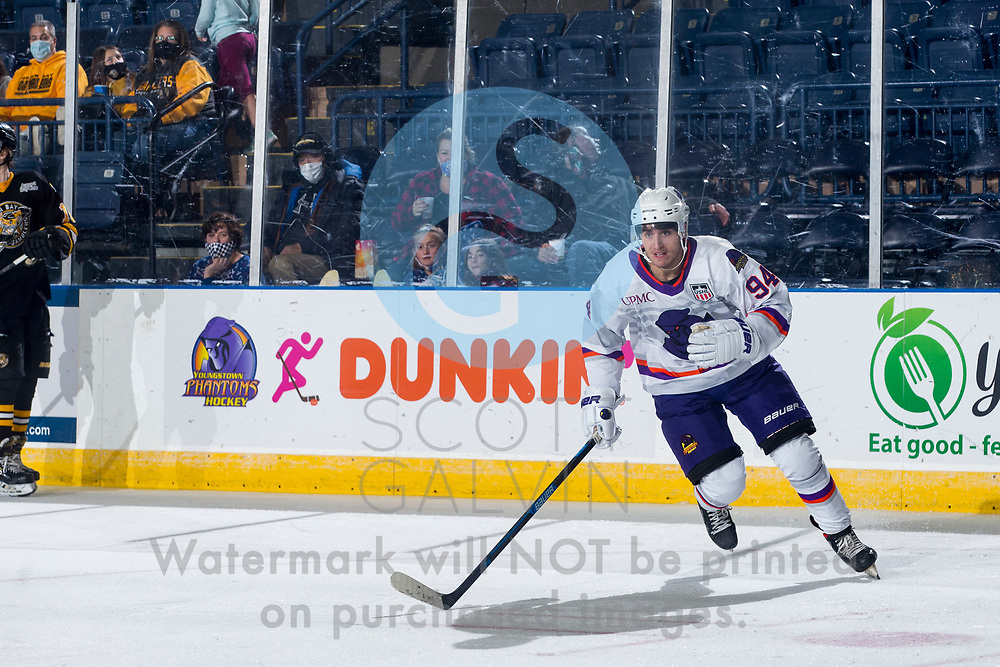The Youngstown Phantoms lose 5-2 to the Green Bay Gamblers at the Covelli Centre on December 19, 2020.<br /> <br /> Reilly Funk, forward, 94